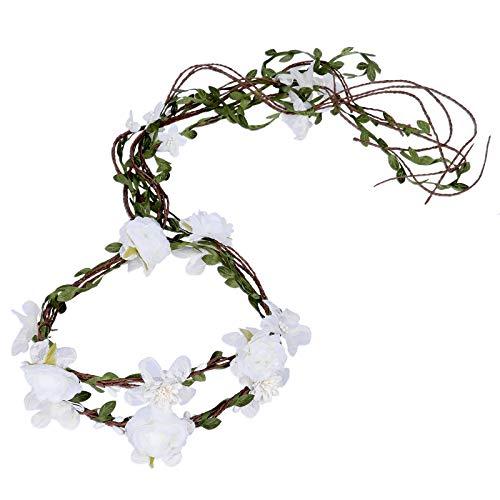 ume Girlande Stirnband - Frauen Mädchen Einstellbare Baum Rattan Blatt Floral Haar Kranz Hochzeit Fotografie Dekoration, Weißer Spitze, Einheitsgröße ()