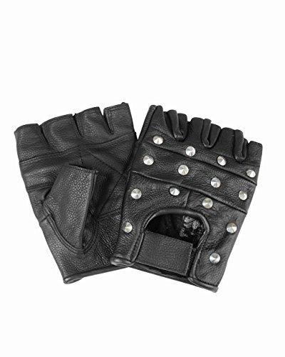 guanti biker Mil-Tec Guanti in pelle senza dita con rivetti (Nero/XS)