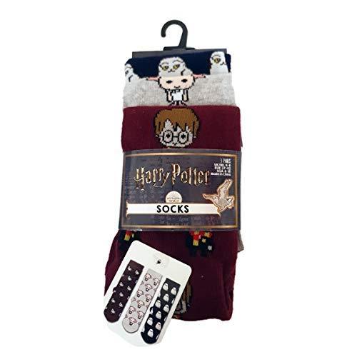 Harry Potter Official Ladies Socks Hedwig Emoji Women's Socks Pack Of 3 Size UK 4-8 Primark