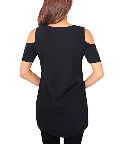 KRISP® Damen T-Shirt Top mit Schulterausschnitten Schwarz