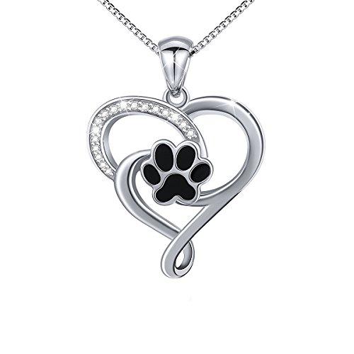 DAOCHONG Halskette Silber 925 Damen Kette Sterling Silber Tier Welpen Hund Katze Pet Paw Print CZ Herz Anhänger Halskette für Frauen Mädchen