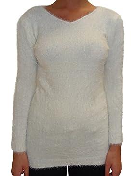 Signore Donna sportiva invernale girocollo Fluffy Furry Top Jumper