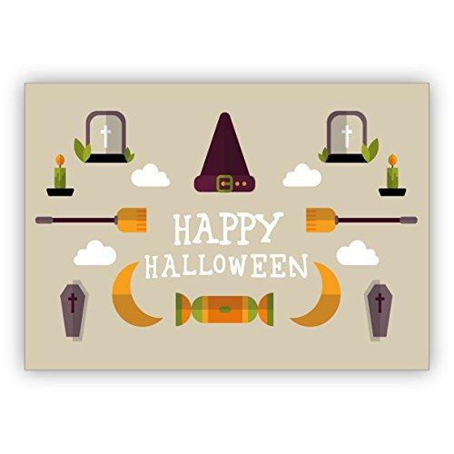 Coole Halloweenkarte in beige mit Sarg, Hexenhut und Besen: Happy Halloween (Sarg Autos)