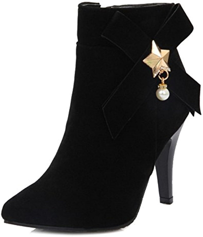 Onewus Damen Bogen Stiefel mit Absatz Pointed Toe Reißverschluss Schuhe