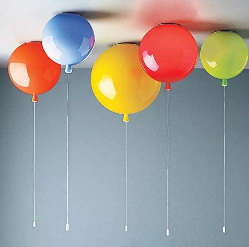 LINA-Ciondolo Vintage retrò tonalità chiare Contemporanea Ciondolo plafoniera luce metallo soffitto illuminazione lampada Lampada da soffitto di camera bambini palloncino colorato , yellow-35cm