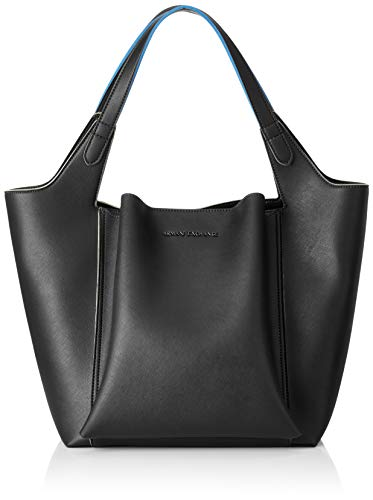 Denim Shoulder Tote (Armani Exchange Damen Shoulder Bag Tote, Schwarz (Black), 36.5x24x45 cm)