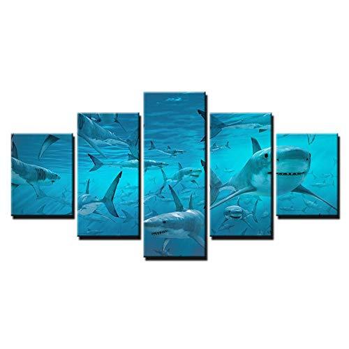 ZYJCC 5 Lienzos Marco De Madera Lienzo Cartel Arte De La Pared Impresiones Modulares Imágenes Azul Profundo del Tiburón De Mar Enjambre Pinturas para La Sala De Estar Decoración para El Hogar