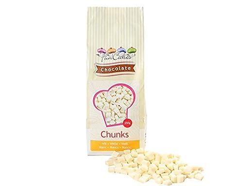 FunCakes Chocolate Chunks White 350g, backfeste Schokoladen Drops Weiß