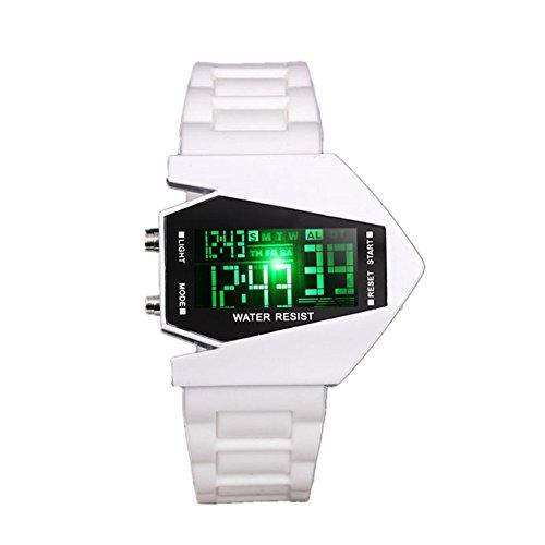 JSDDE Uhren,Militär Uhr Military Fliegeruhr Digital LED Silikon Quarz Herren Armbanduhr Quarzuhr(Weiss)