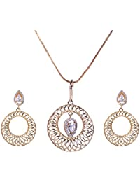Pushti Gold Brass Pendant Set For Women (PF_014)
