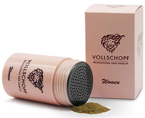 Vollschopf Schütthaar speziell für Frauen - Streuhaar bei weiblichem Haarausfall - Hair Fibers für dünnes Frauen-Haar - Haar-Pulver Farbe Hellbraun