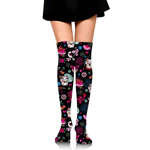 Lucky Cat Maneki Neko, Dragons and Koi Fish Women Girls Funny Knee High Socks Novelty Crew Socks Boot Socks Trainer Socks