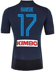 Napoli 3rd auténtico Match Hamsik Jersey 2017/2018(diseño de abanico printing), Azul marino