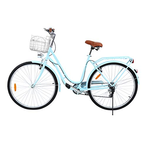 Ridgeyard 28' 7 velocidades señoras Ciudad Bicicleta Estilo holandés Bicicleta Deportes al Aire Libre Ciudad Urbana Bicicleta Shopper Bicicleta luz + Cesta + Campana + batería-Powered luz … (Azul)