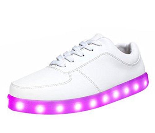 [Présents:petite serviette]JUNGLEST® 7 Couleur Unisexe Homme Femme USB Charge LED Lumière Lumineux Clignotants Chaussures de Sports Ba Blanc