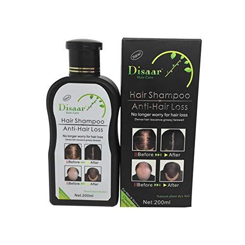 fengwen66 200ml Disaar Hair Shampoo Anti-Hair Loss Hair Growth Hair Care Shampoo(Black & White)