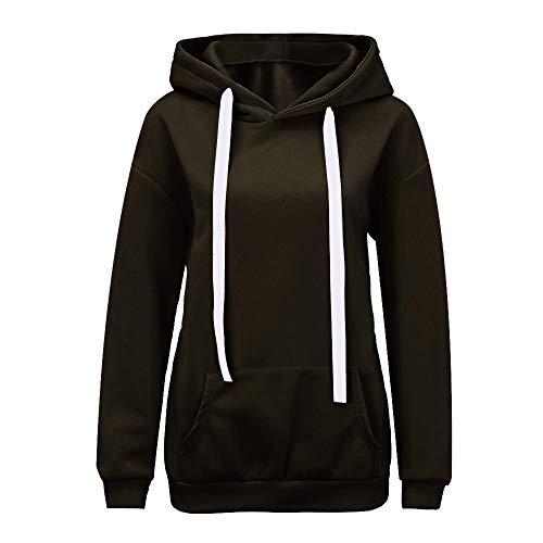 OSYARD Damen Solid Tunnelzug Kapuzenpullover Hooded Sweatshirts mit Tasche, Mode Frauen Solide Langarm Brief Gedruckt Bänder Hoodie Sweatshirt Top (M, Grün)