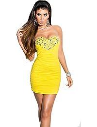 d00b8006ba Koucla Elegante Vestido de Noche gerafft y Piedra con Ribete (7 Colores –  One Size 34 – 38) Sexy dekolletè Mini…