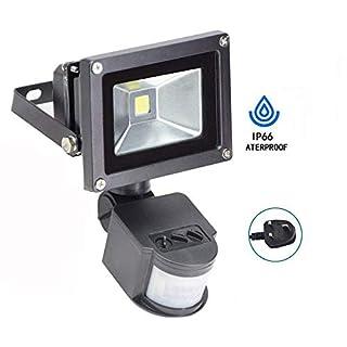 10W PIR Led Security Light, Daylight Motion Sensor Flood Light Outdoor, Smart and Sensitive Detection Setting (UK 3-Plug), Waterproof, Garden PIR Floodlight for Garage Yard Porch Entryways.