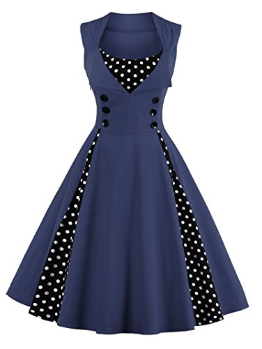 50s Retro Kleider, VERNASSA Damen Vintage 1950er A-line Baumwoll Swing Kleid für Rockabilly Evening...