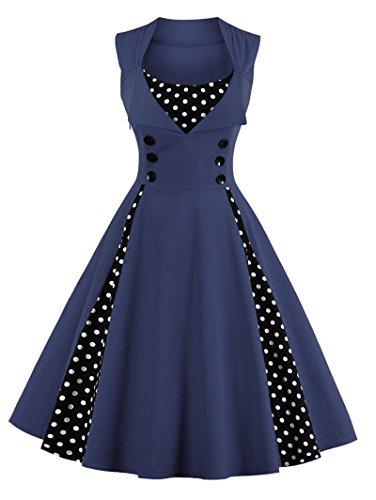 50s Retro Kleider, VERNASSA Damen Vintage 1950er A-line Baumwoll Swing Kleid für Rockabilly Evening Party Cocktail, Multicoor, Farbe 1357-Navy Blue, Gr. L