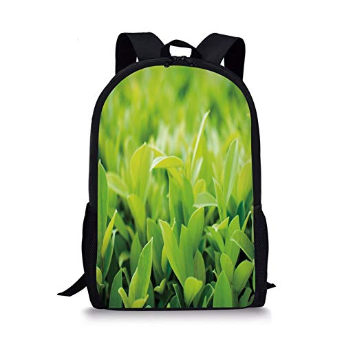 School Bags Plant,Lush Green Leaves with Sun Open Air Sunny Days Spring Time Happy Vibes Environment,Apple Green for Boys&Girls Mens Sport Daypack -