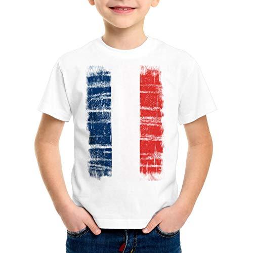 CottonCloud Frankreich Vintage Flagge Kinder T-Shirt WM EM Olympia, Farbe:Wei�;Gr��e:140 - Meisterschaft Vintage-t-shirt