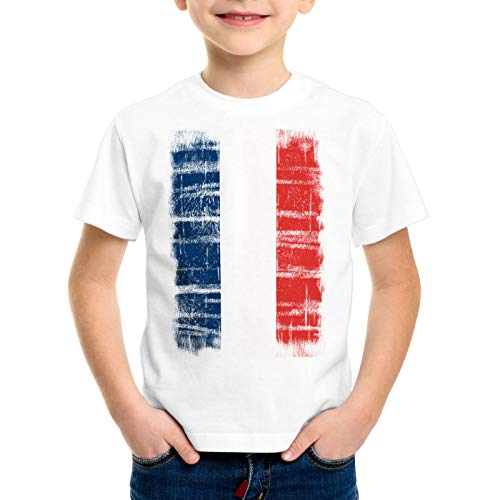 CottonCloud Frankreich Vintage Flagge Kinder T-Shirt WM EM Olympia, Farbe:Wei�;Gr��e:140