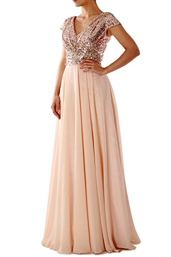 MACloth Cap Sleeve V Neck Sequin Chiffon Bridesmaid Dress Formal Evening Gown Gris