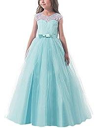 28795961c6665b NNJXD Mädchen Kinder Spitze Tüll Hochzeit Kleid Prinzessin Kleider