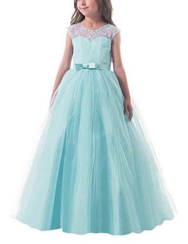 NNJXD Mädchen Kinder Spitze Tüll Hochzeit Kleid Prinzessin Kleider Größe (150) 9-10 Jahre Grün