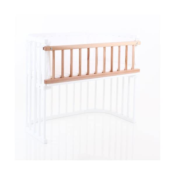 babybay maxi drop-side, core beech oiled Tobi Attaches quickly and easily Safe, sturdy and robust Made entirely of natural, antibacterial and antistatic book timber 2