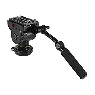 Andoer Camera Tripod Action Fluid Drag Pan Head Hydraulic Panoramic Photographic Head for Canon Nikon Sony DSLR Camera Camcorder Shooting Filming Load 5KG