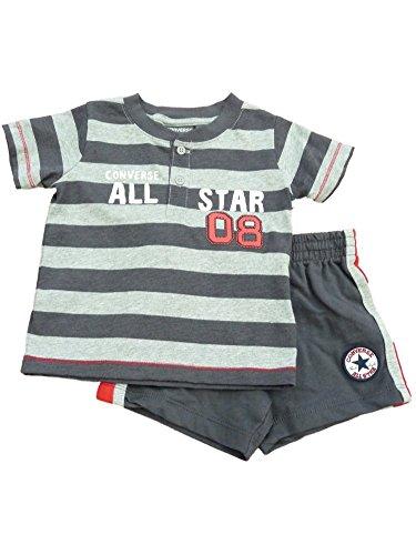 All Star Baby & Kleinkind Jungen Grau Gestreiftes Shirt & Shorts Set 12m (Kleinkinder Shirts Converse Für)