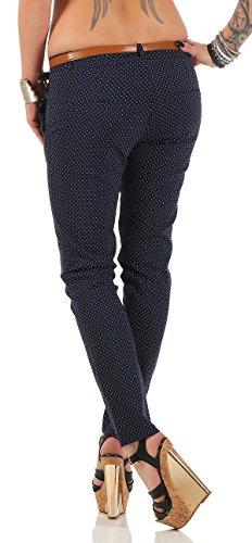 ZARMEXX 7711 donna stirata punteggiata pantaloni attillati Chino pantaloni scarni Jeggings Marine