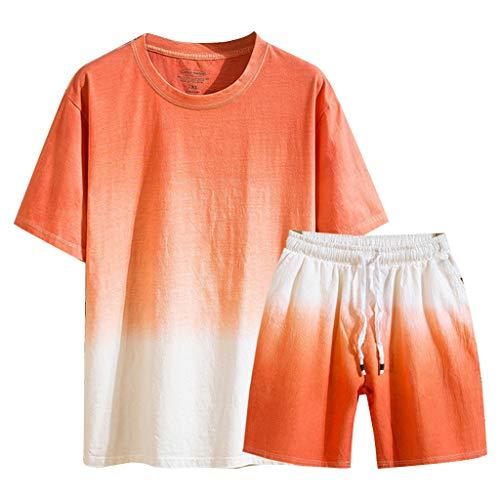 UINGKID Herren Jogginganzug Trainingsanzug Overall Jumpsuit Shirt Hose Fitness Sommer Neue Baumwolle Leinen Kurzarm Kurze Mode schrittweise Farbe Anzug (Halloween-dress-code Für Männer)