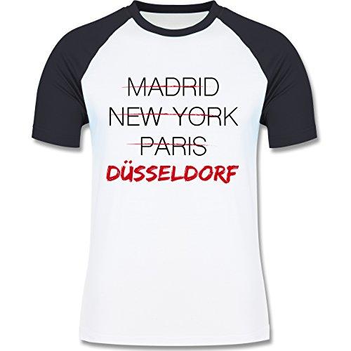 Städte - Weltstadt Düsseldorf - zweifarbiges Baseballshirt für Männer Weiß/Navy Blau