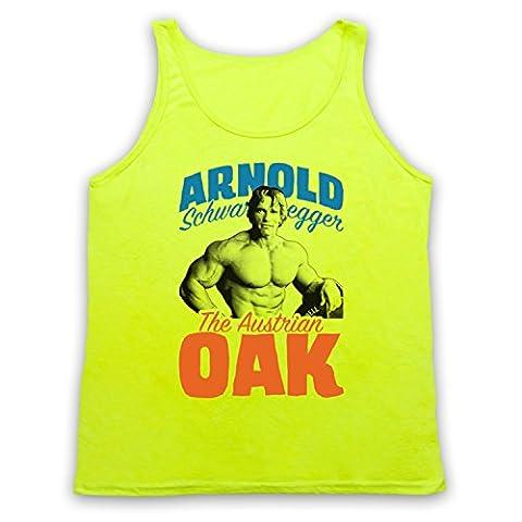 Inspired by Arnold Schwarzenegger The Austrian Oak Bodybuilder Unofficial Tank Top Vest, Neon Yellow,