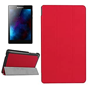 Wkae case & cover Karst texture Horizontal Flip Solid color custodia in pelle con three-folding Holder per Lenovo Tab 2A7–20F