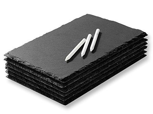 juvale Mini Slate Käse Boards–Servier-Tabletts für alle Gelegenheit–Modern Style–leicht zu reinigen–Set von 6slate Tabletts–Kreide enthalten–15,2x 0,3x 22,2cm (Mini-maus-flaschen)