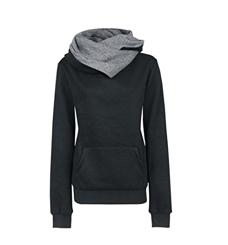 Hoodie Damen, CRAVOG Umlegekragen Patchwork Outwear Kapuzenshirt Kapuzenpullover Sweatshir Sweater Pollover mit Aufdruck für Herbst Winter Schwarz