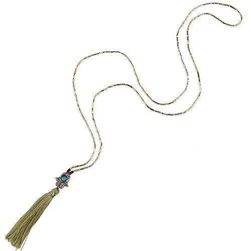 KELITCH Perles de Rocaille Collier avec mauvais Oeil Turquoise Gland Pendentif Olive Vert