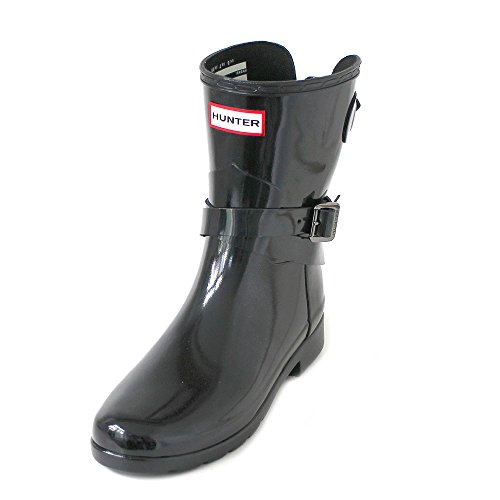 HUNTER W Original Refined ADJ Short Ankle Strap Gloss Black, Größe:38 Hunter Original Gloss