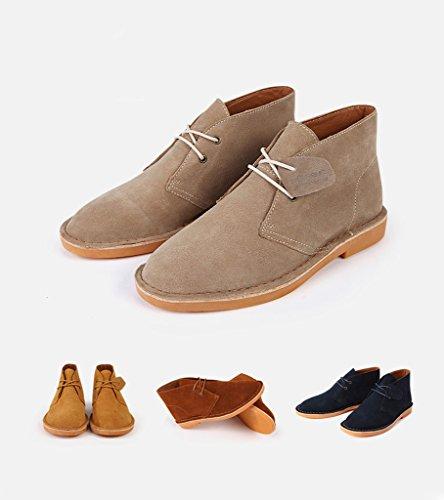 SERENE Mode Herren Wüste Arbeitsschuhe Low Top Arbeitsstiefel für Männer - Glattes Leder oder Wildleder Wildleder Kamel