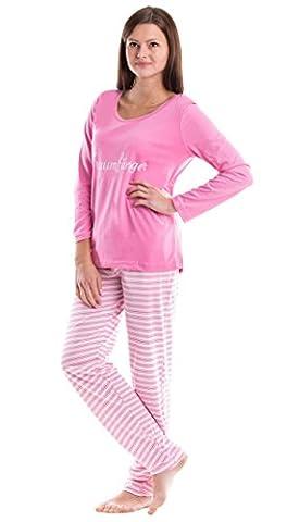 Moonline bequemer Damen Baumwoll-Schlafanzug in modischem Design, rosa-weiß, Gr. L (42/44)