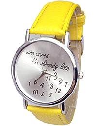 Reloj de pulsera - SODIAL(R)Reloj de pulsera de banda d e cuero de