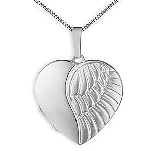 Medaillon Herz mattiert Flügel Engel 925 Sterling Silber zum öffnen für Bildereinlage 2 Fotos Amulett Verzierung mit Schmuck-Etui von Haus der Herzen®