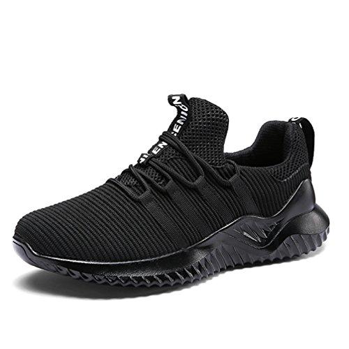UBFEN Herren Schuhe Laufschuhe Turnschuhe Sportschuhe Freizeit Atmungsaktiv Fitness Gym Sneakers Casual EU 43 H Schwarz