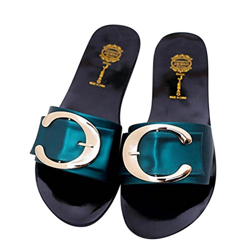 Webla Damen Sandalen Schuhe Womens Slip On Mules Slipper Strap Sandalen Flache Flip Flop Sommer Schuhe Flats Thong Sandalen Grün