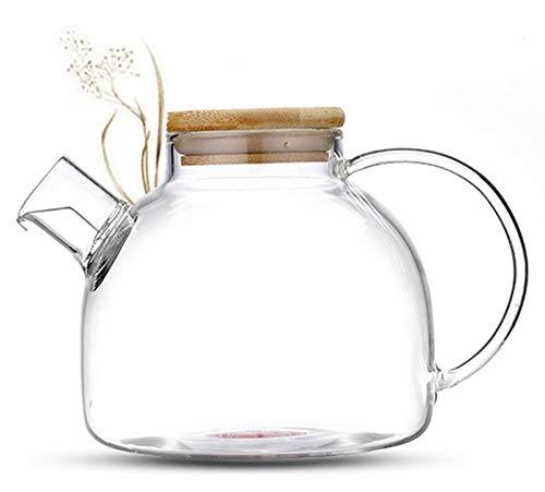 Tea & Tea 800ml Teekanne mit Bambusdeckel und kurzem Auslauf, hochwertiger Teekrug aus...